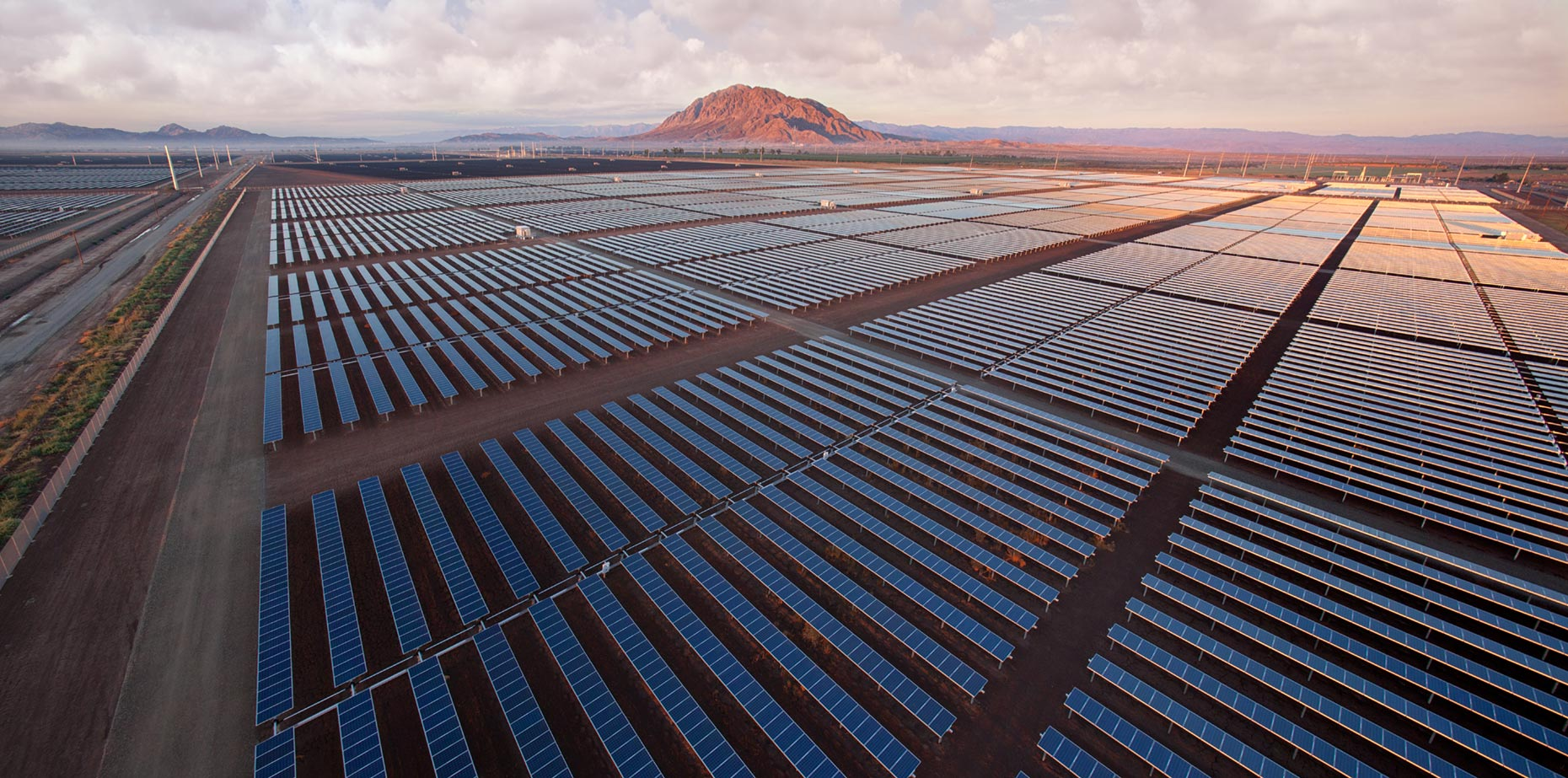 Aerial drone photograph of large solar array in California | San Diego commercial photographer P2 Photography specializes in professional photographs and video for commercial, advertising and corporate clients.